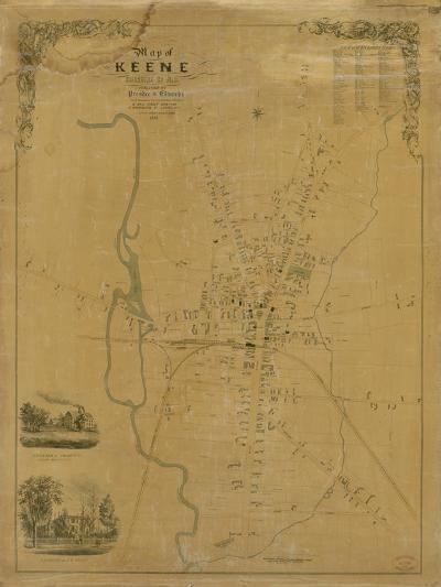 1853, Keene Wall Map, New Hampshire, United States--Giclee Print