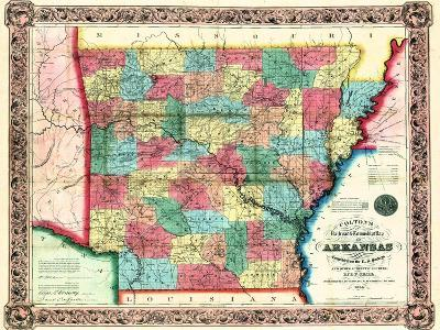 1854, Arkansas State Map, Arkansas, United States--Giclee Print