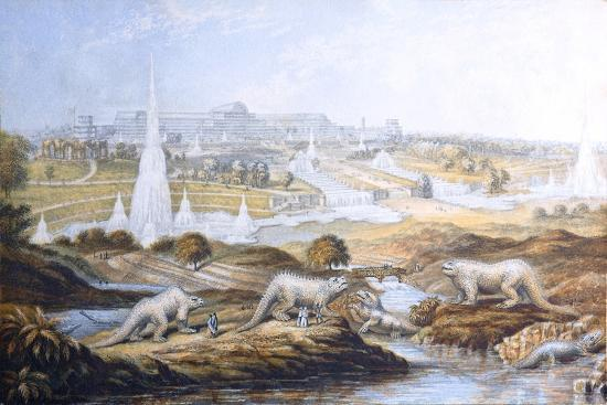 1854 Crystal Palace Dinosaurs by Baxter 2-Paul Stewart-Photographic Print