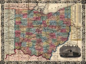 1854, Ohio State Map Township and Railroad Map, Ohio, United States