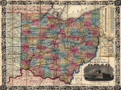1854, Ohio State Map Township and Railroad Map, Ohio, United States--Giclee Print