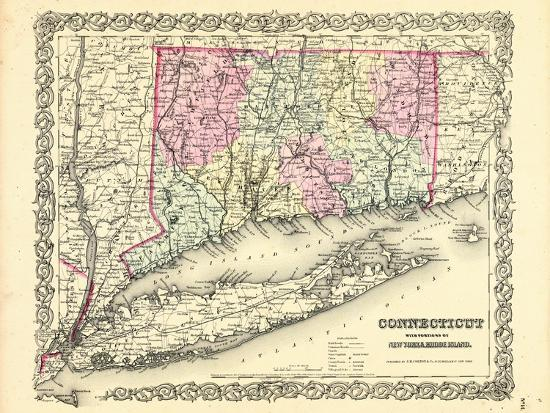 1855 Connecticut State Map Long Island Sound Connecticut United - Long-island-on-us-map