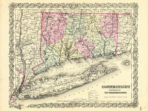 1855, Connecticut State Map Long Island Sound, Connecticut, United States