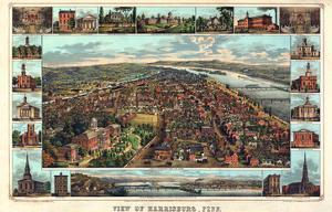 1855, Harrisburg Bird's Eye View, Pennsylvania, United States