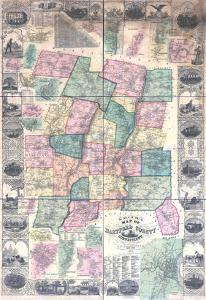 1855, Hartford County Wall Map, Connecticut, United States