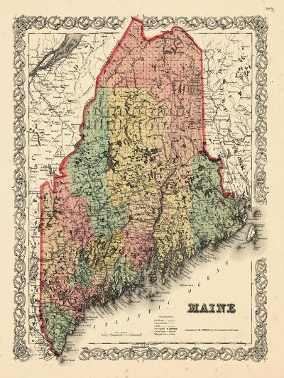 1855, Maine State Map 1855, Maine, United States--Giclee Print