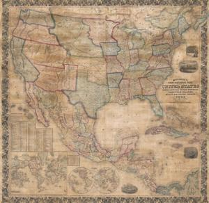 1856 Wall Map of the United States