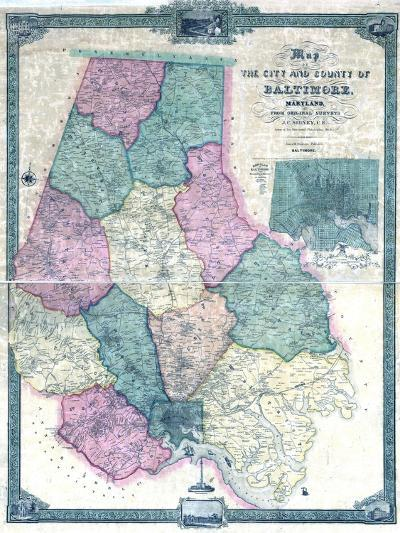 1857, Baltimore County Wall Map, Maryland, United States--Giclee Print