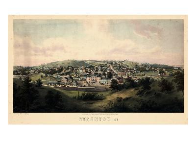 1857, Staunton Bird's Eye View, Virginia, United States--Giclee Print