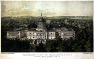1857, Washington City and Capitol 1857c Bird's Eye View, District of Columbia, United States