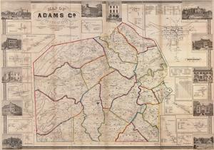 1858, Adams County Wall Map, Pennsylvania, United States