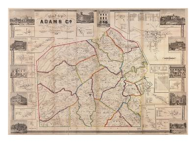 1858, Adams County Wall Map, Pennsylvania, United States--Giclee Print