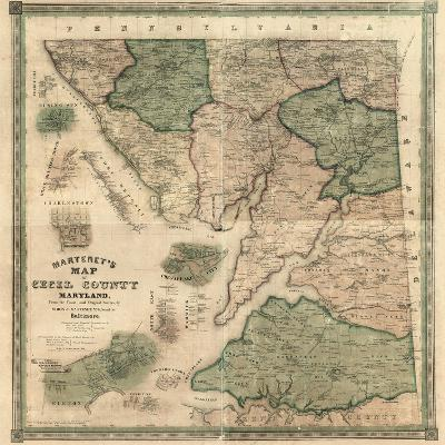 1858, Cecil County Wall Map, Maryland, United States--Giclee Print