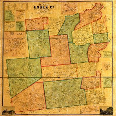 1858, Essex County 1858 Wall Map, New York, United States--Giclee Print