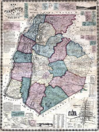 1858, Frederick County Wall Map, Maryland, United States