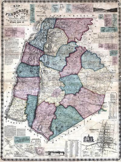 1858, Frederick County Wall Map, Maryland, United States--Giclee Print