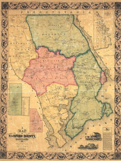 1858, Harford County Wall Map, Maryland, United States--Giclee Print