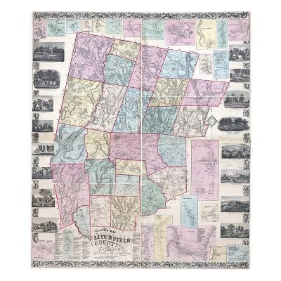 1859, Litchfield County Wall Map, Connecticut, United States--Giclee Print