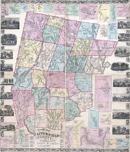 1859, Litchfield County Wall Map, Connecticut, United States