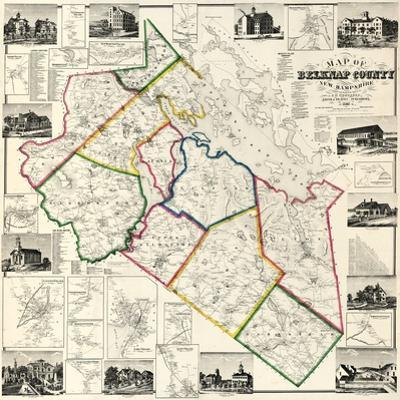 1860, Belknap County Wall Map, New Hampshire, United States