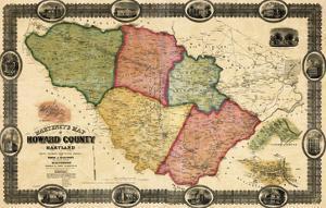1860, Howard County Wall Map, Maryland, United States