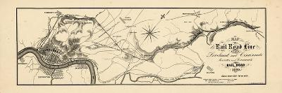 1860, Loveland and Cincinnati Railroad Map, Ohio, United States--Giclee Print