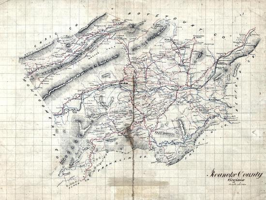 Virginia United States Map.1860s Roanoke County Wall Map Virginia United States Giclee Print