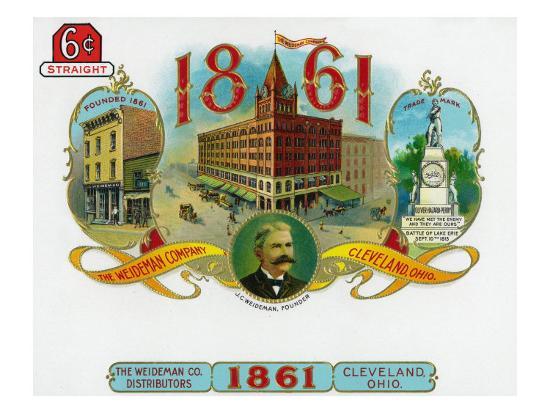 1861 Brand Cigar Box Label, The Weideman Company in Cleveland, Ohio-Lantern Press-Art Print