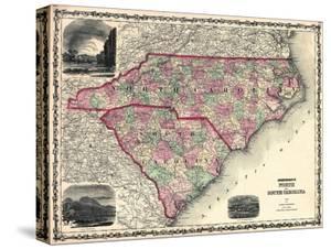 1861, North Carolina and South Carolina State Map, North Carolina, United States