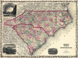 1861, North Carolina and South Carolina State Map, North Carolina, United States