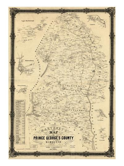 Map Of Prince George\'s County 1861, Prince George's County Wall Map, Maryland, United States  Map Of Prince George\'s County
