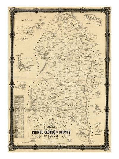 1861, Prince George's County Wall Map, Maryland, United States--Giclee Print