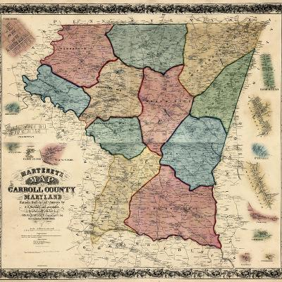 1862, Carroll County Wall Map, Maryland, United States--Giclee Print