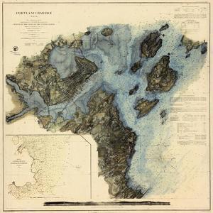 1862, Portland Harbor Chart, Maine