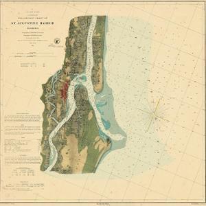 1862, St. Augustine Harbor Chart 1862, Florida, United States