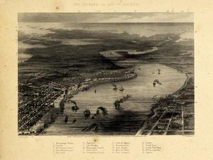1863, New Orleans Bird's Eye View, Louisiana, United States