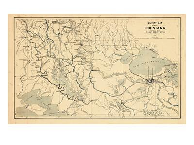 photograph about Printable Maps of New Orleans known as 1863, Refreshing Orleans Louisiana Army Map, Louisiana, United Says Giclee Print through