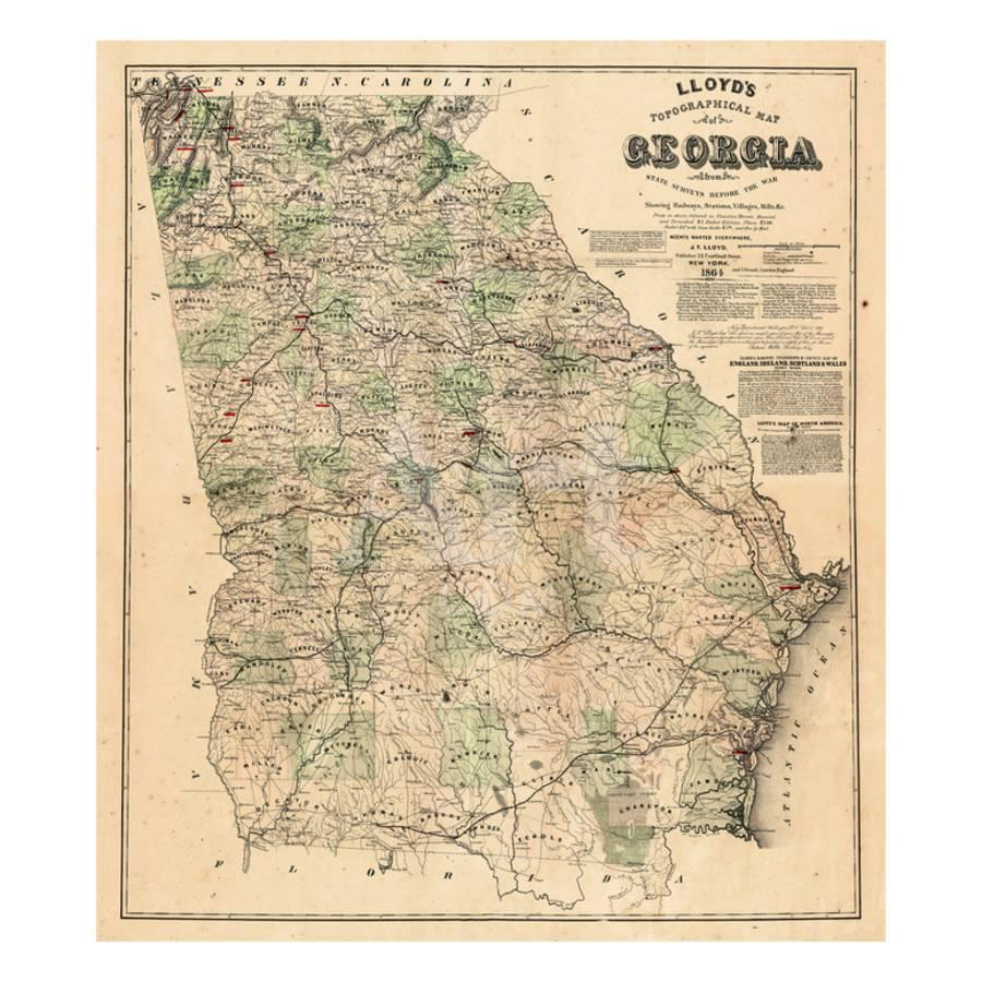 Map Of Georgia United States.1864 Georgia State Map Georgia United States Giclee Print By Art Com
