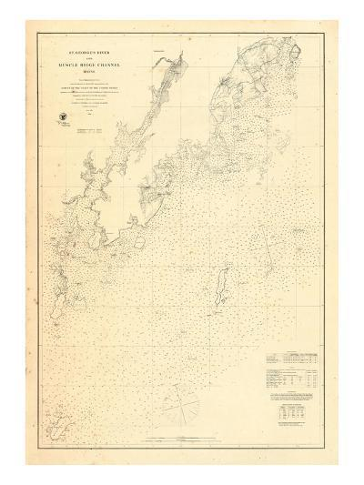 1864, St Georges River and Muscle Ridge Channel Chart Maine, Maine, United States--Giclee Print