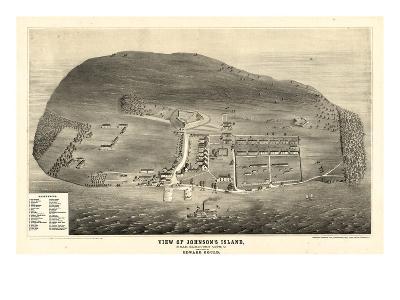 1865, Johnson's Island 1865c Bird's Eye View, Ohio, United States--Giclee Print