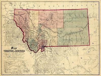1865, Montana Wall Map, Montana, United States--Giclee Print