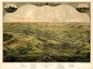 1866, Lansing Bird's Eye View, Michigan, United States