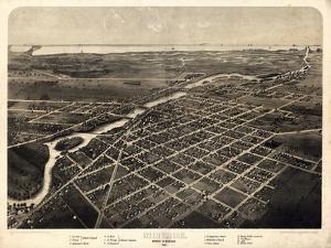 1866, Monroe Bird's Eye View, Michigan, United States
