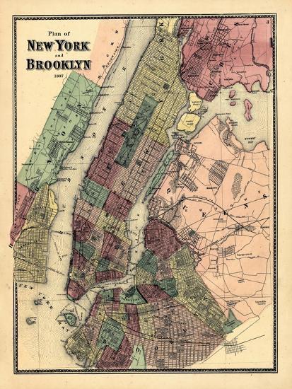 1867, New York & Brooklyn Plan, New York, United States--Premium Giclee Print