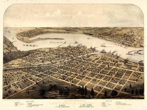 1867, Port Huron - Sarnia - Gratiot Bird's Eye View, Michigan, United States