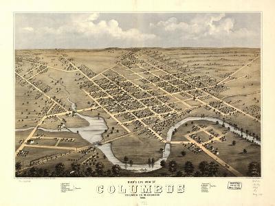 1868, Columbus Bird's Eye View, Wisconsin, United States--Giclee Print