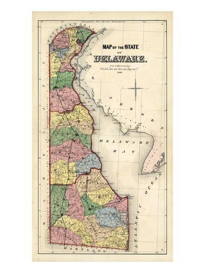 1868, Delaware State Map, Delaware, United States--Giclee Print