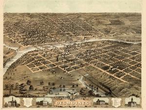 1868, Des Moines Bird's Eye View, Iowa, United States