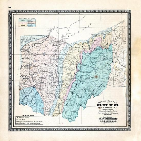 1868, State Geological Map, Ohio, United States Giclee Print by ...
