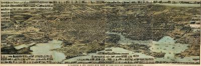 1869, Baltimore Bird's Eye View, Maryland, United States--Giclee Print